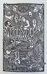 WOODSTOCK 1969 Psychedelic Hand Signed Posterography Letterpress Graffiti Art