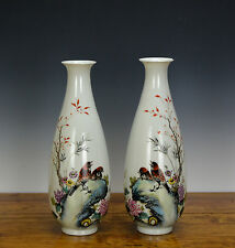 Pair of Chinese Republic Famille Rose Bird Porcelain Vase