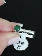 🌵VTG.STERLING SILVER 925 hammered look~ JADE RING~ SZ8