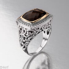 Exceptional Smoky Quartz & Diamond Ring, 6.49CTW, 14K and Sterling Silver, SZ 8
