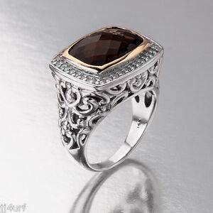 Exceptional Smoky Quartz & Diamond Ring, 6.49CTW, 14K & Sterling Silver, SZ 7