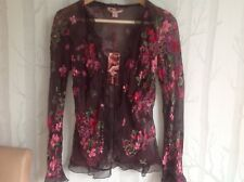 Monsoon brown silk blend sheer cardigan top with hot pink flowers. Size 10