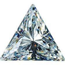A PAIR OF 7mm TRIANGLE-FACET PURE ICE-WHITE CUBIC ZIRCONIA GEMSTONES