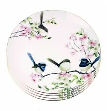 4x Fine Bone China Blue Wren Dinner Plate Birds Flower Dinner Plate Boxed Gift