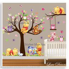 Winnie The Pooh pegatinas de pared con Dibujo De Búho Animal vivero bebé Cuarto De Niños árbol calcomanías Arte