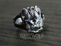 Viking Twin Wolf Ring - Size 6/7/8/9/10 - 925 SILVER -- Wolves/Direwolf/Norse