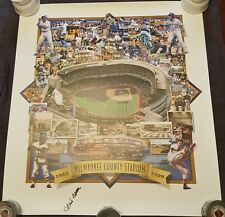"""HANK AARON SIGNED 1999 MILWAUKEE COUNTY STADIUM POSTER BRAVES BREWERS  22"""" X 27"""""""