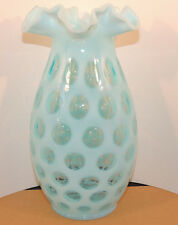 Fenton Blue Opalescent Coin Dot Ruffled Edge 10 inch tall Vase (9747)