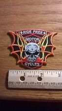 """BIKER PATCH """"RIDE FREE MOTOR CYCLE"""" WITH SKULL NEW NICE LADIES MEN PATCH"""