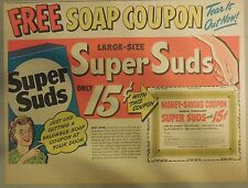 Super Suds Ad: Free Soap Coupon from Super Suds ! 1940's