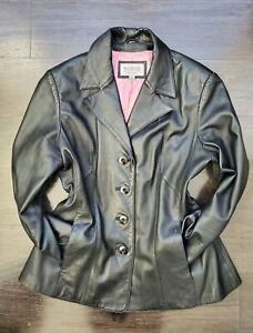 Wilsons Leather Maxima L Women Black Leather Button Front Pocket Blazer Jacket