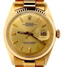 Rolex Mens Solid 18K Yellow Gold Datejust w/Gold Plated President Style Bracelet