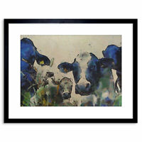 Painting Nature Cow Cattle Farm Animal Framed Print 9x7 Inch