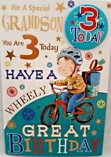 "GRANDSON 3rd BIRTHDAY CARD & BADGE ~ AGE 3 TODAY DESIGN ~ NICE CARD 9"" x 6"""