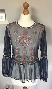 MARKS AND SPENCERS LADIES BLUE CHIFFON INDIAN STYLE TOP SIZE 10-12