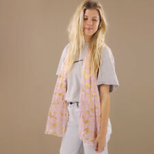 Pale Pink Peach Sheer Scarf Gold Butterflies Vines Pattern Polyester Long Shawl