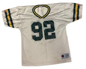 Vtg Champion Green Bay Packers Reggie White #92 White Boy's Jersey Size Large