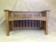 SLAT SIDE MISSION HALL BENCH ARTS CRAFTS WITH CUTOUTS LARGE Free Shipping