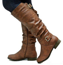 UK Womens Leather Knee High Boots Buckle Zipper Winter Flats Casual Shoes Size