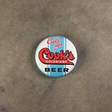 """Vintage Style Beer Sign  Fridge Magnet  1"""" Call for Cook's Beer Evansville Ind."""