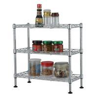 3 Tier Adjustable Storage Shelving Unit Metal Organizer Wire Rack Shelf Silver