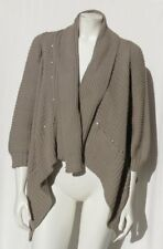 PURE HANDKNIT Taupe Chunky 100% Cotton Draped Studded Cardigan Sweater size S M