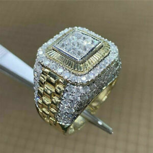 Fashion 925 Silver Rings for Men White Sapphire Wedding Party Jewelry Size 6-13