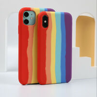 For iPhone 12 Pro Max 12 11 XS XR 8Plus Liquid Silicone Rainbow Color Case Cover