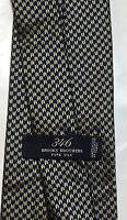 """Brooks Brothers """"346"""" Mens Neck Tie Pure Silk Navy Gold Design"""