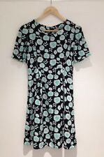 Oliver Bonas Tea Dress Size 8 Black Green Floral Short Sleeve