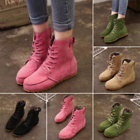 Women's Ankle Boots Round Toe Flat Heel Booties Casual Martin Shoes Lace-up
