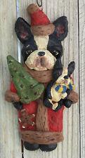 Folk Art Boston Terrier Dog Santa Ornament Nostalgic Vintage Ooak W Pup New