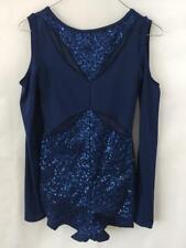 Weissman dance costume Size SA small adult blue open shoulder 1 piece jumpsuit