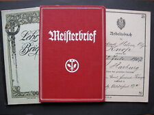 Gesellenbrief, Meisterbrief und Arbeitsbuch einer Putzmacherin Hutmacherin Mode