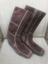NINE WEST Brown Suede Mid-Calf Zip Up Wedge Heel Boot Size 8