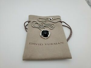 David Yurman Infinity Pendant Necklace With Black Onyx in 14mm With 18 Chain