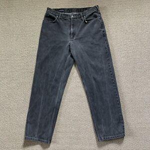 Vintage Lands End Black Wash Denim Jeans Nice Fade Size 34X28