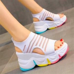 Womens Wedge High Heels Romen Gladiator Sandals Thick Platform Beach Shoes