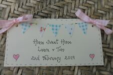 New Home Housewarming Gift  Plaque Sign Moving Home Present Bunting Personalised