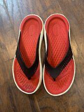 Crocs Lite Ride Toe Post Sandals Flip Flops Men's 4 Women's 6 Red Black Straps