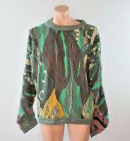 VTG 90s COOGI Australia Cosby BIGGIE Chunky sweater Neon Gray Vaporwave Sz L