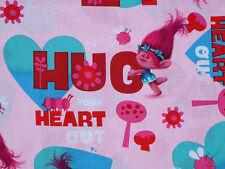 FAT QUARTER  TROLLS  DREAMWORKS TROLL POPPY  HUG YOUR HEART OUT COTTON FABRIC FQ