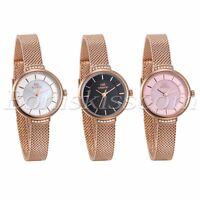 Women's Charm Simple Rose Gold Tone Stainless Steel Mesh Band Quartz Wrist Watch