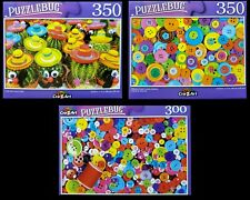 Lot of 3 ~ NEW 300 - 350 Piece Jigsaw Puzzles by Puzzlebug Buttons, Cactus NIB
