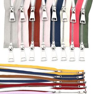 5/10pcs Metal Teeth Zipper 5# 2-way Open-end Double Slider Silver Metal Zipper