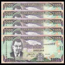 Lot 5 PCS, Jamaica 100 Dollars, 2006, P-84b, UNC