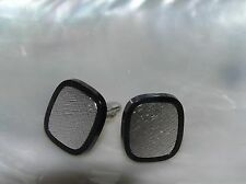 Vintage Speidel Signed Etched Silvertone Rimmed in Black Plastic