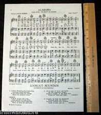 UNIVERSITY OF ALABAMA Vintage Alma Mater Songsheet c1938 - Original