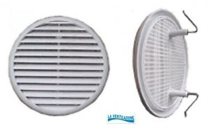 Bocchetta griglia aria ventilazione tonda in plastica diametro esterno mm.155