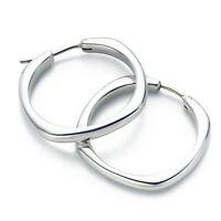 Silver 925 Polish Elegant & Stylish Square Hoops Medium Size FE23